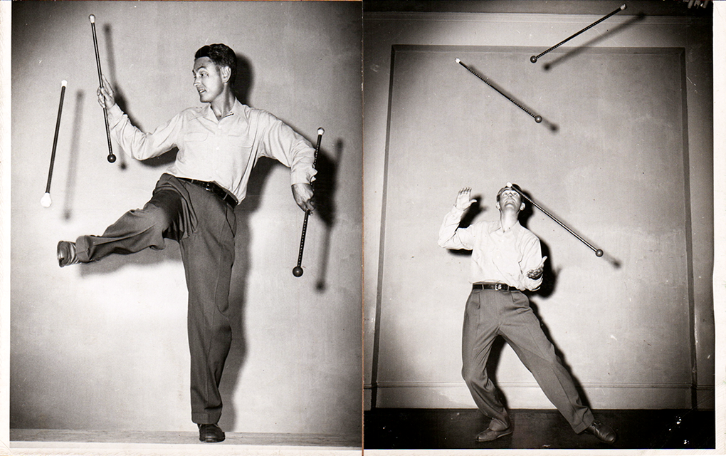 Robert Olmstead twirling three batons. From juggling to the creation of baton twirling.